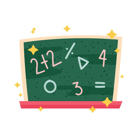 back to school chalkboard with numbers class icon vector illustration