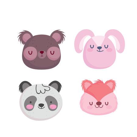 Bear rabbit panda and squirrel cartoon design, Animal zoo and life theme Vector illustration 矢量图像