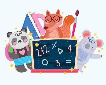 back to school cute squirrel koala panda with blackboard vector illustration 矢量图像