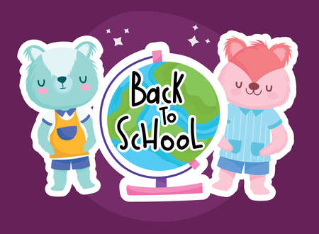 Back to school squirrel bear and world sphere design, eduacation class and lesson theme Vector illustration