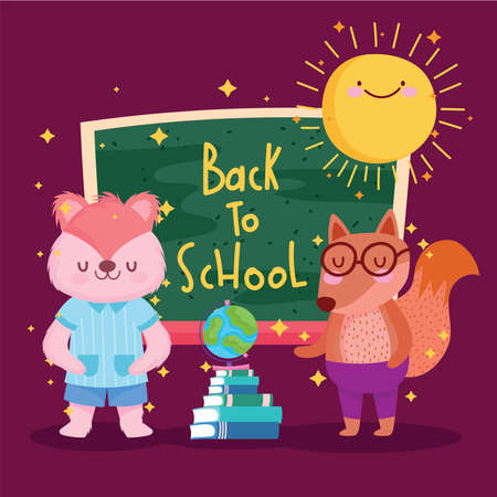 Back to school squirrel fox and icons design, eduacation class and lesson theme Vector illustration 矢量图像