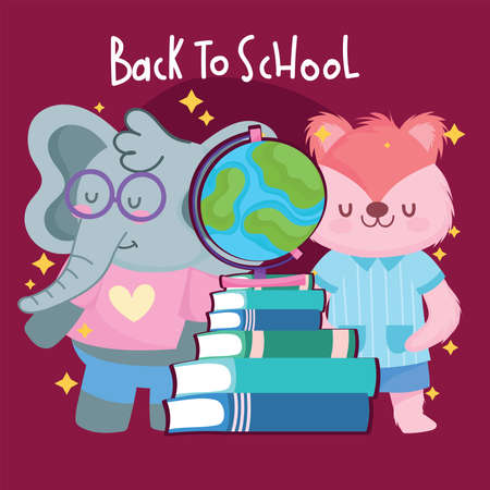 Back to school squirrel elephant and books design, eduacation class and lesson theme Vector illustration 矢量图像