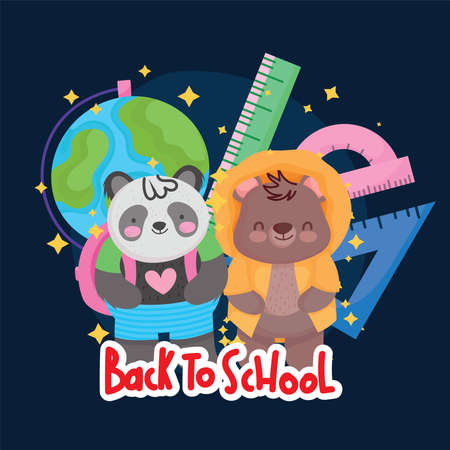 back to school cute panda bear with map and ruler supplies class vector illustration