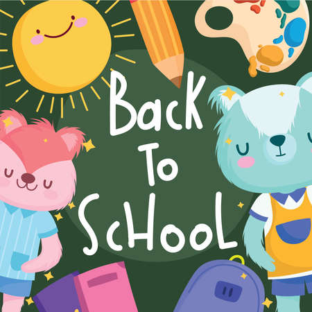 Back to school squirrel bear and icons design, eduacation class and lesson theme Vector illustration