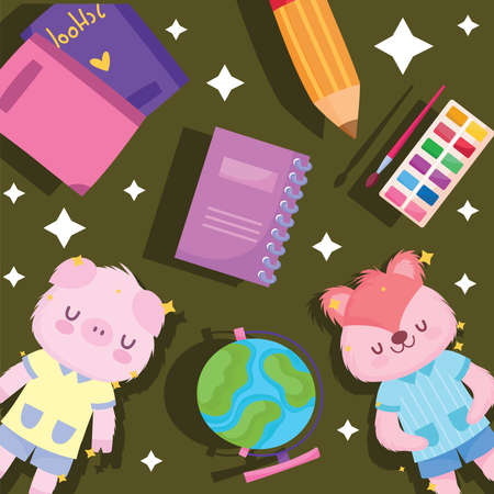 Back to school squirrel pig and icons design, eduacation class and lesson theme Vector illustration 矢量图像