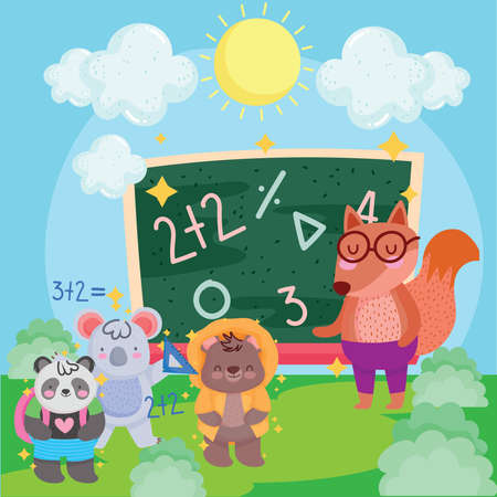 back to school squirrel koala bear and panda with blackboard in landscaping vector illustration