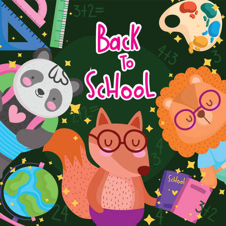 back to school little lion squirrel panda with books map and watercolor palette vector illustration 矢量图像