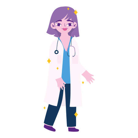 medical woman doctor cartoon design of care health emergency aid exam clinic and patient theme Vector illustration Çizim