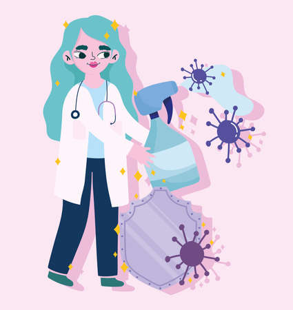 covid 19 virus and woman doctor with alcohol spray and shield design of 2019 ncov cov and coronavirus theme Vector illustration