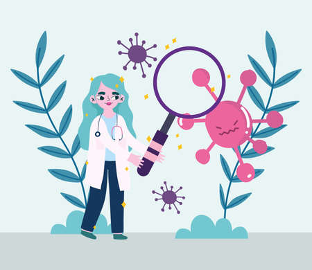 covid 19 virus and woman doctor with lupe and leaves design of 2019 ncov cov and coronavirus theme Vector illustration