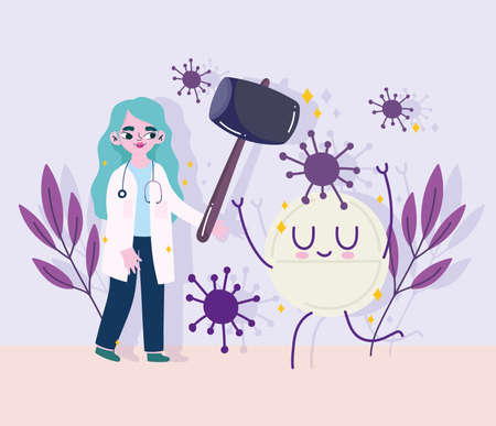covid 19 virus and woman doctor with hammer and pill cartoon design of 2019 ncov cov and coronavirus theme Vector illustration