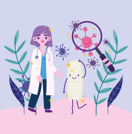 covid 19 virus and woman doctor with lupe and pill cartoon design of 2019 ncov cov and coronavirus theme Vector illustration