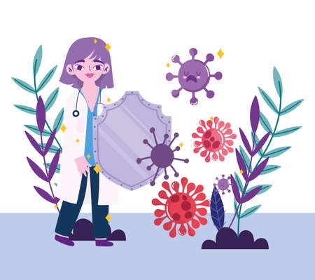 covid 19 virus and woman doctor with shield design of 2019 ncov cov and coronavirus theme Vector illustration Çizim