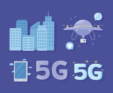 5G smartphone drone city connection internet wireless technology vector illustration