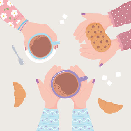 female hands with coffee cup cookies and croissant, top view fresh hot beverage vector illustration Ilustrace