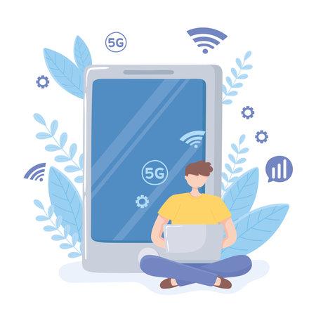 man use laptop high speed internet, 5 generation network vector illustration