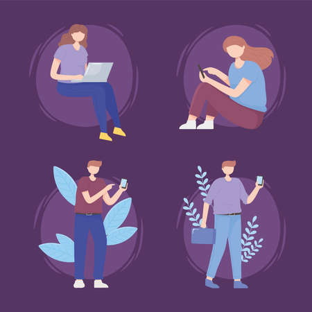 people set with gadgets technology digital and 5G generation internet vector illustration