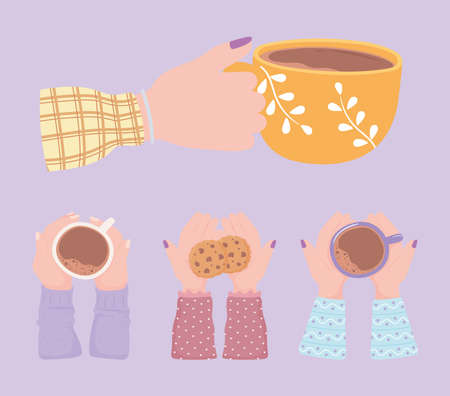 collection hands with coffee cups, fresh hot beverage vector illustration