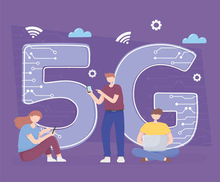 people using smartphone, laptop devices technology wireless connection 5G generation vector illustration Ilustrace