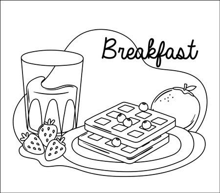 breakfast waffle orange juice and strawberries delicious food cartoon vector illustration line style Ilustrace