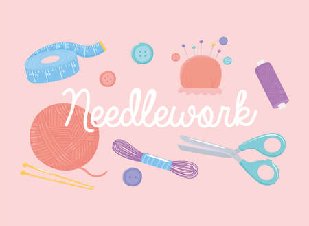 needlework tools measuring tape scissors yarn skeins buttons and pins vector illustration Ilustrace