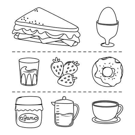 breakfast icons set, sandwich boiled egg donut juice coffee pot and cup vector illustration line style Ilustrace