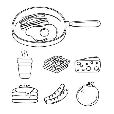 breakfast icons set, fried egg and bacon in saucepan, coffee sausage orange pancakes vector illustration line style