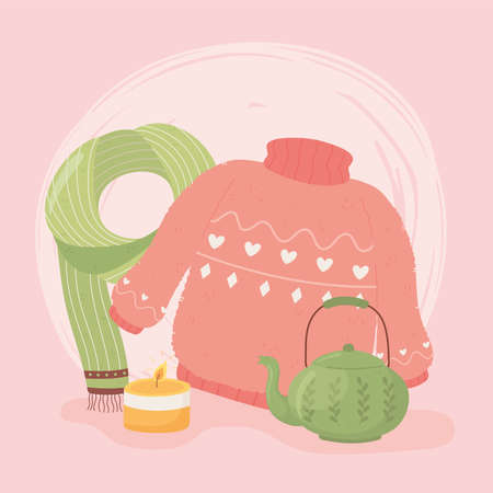 warm sweater scarf teapot and candle, cartoon hygge style vector illustration