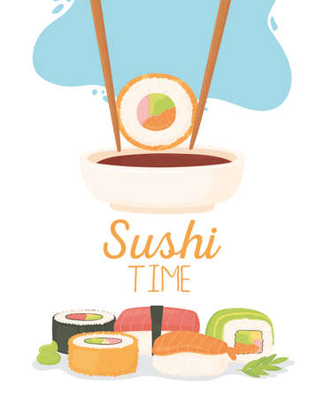 sushi time, chopstick with roll in soy sauce and dishes nigiri, temaki, tamago, sashimi vector illustration Ilustrace