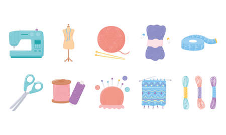needlework tools icons, measuring tape, scissors, yarn skeins buttons and pins vector illustration