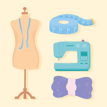 needlework clothing mannequin machine measuring tape and wool ball vector illustration Ilustrace