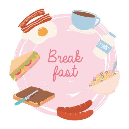 breakfast food fresh fried egg bacon milk coffee cup sausage sandwich vector illustration Ilustrace