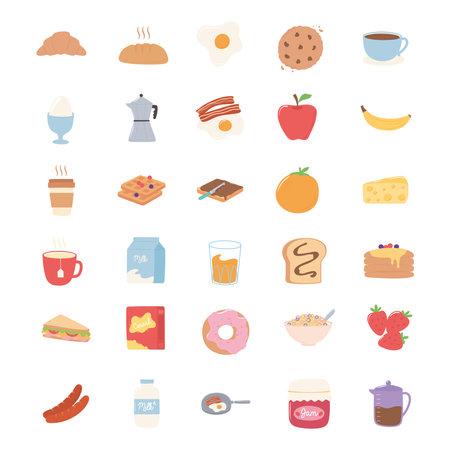 breakfast icons set, croissant bread juice fruits sandwich milk pancakes vector illustration