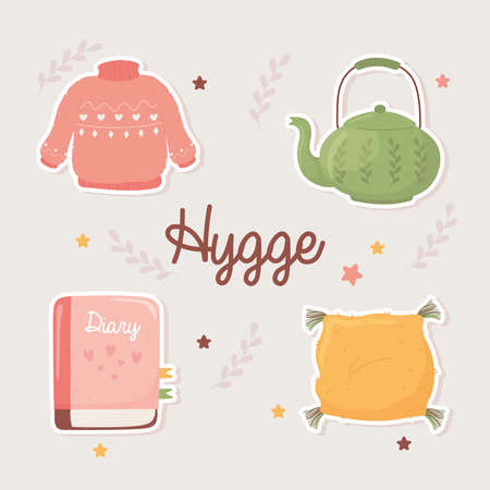 sweater teapot book and cushion, cartoon hygge style vector illustration
