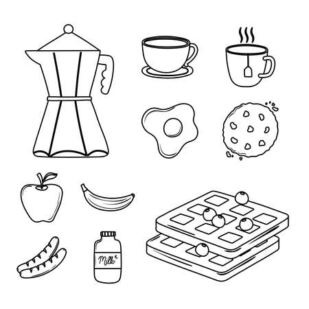 breakfast icons set, moka pot coffee cup fried egg fruits and cookie vector illustration line style Ilustrace