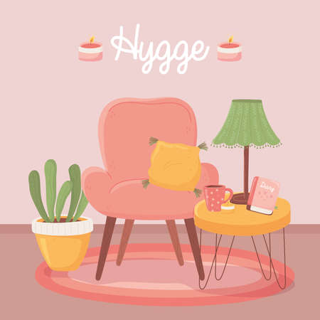 armchair tabe with lamp coffee cup and plant, cartoon hygge style vector illustration