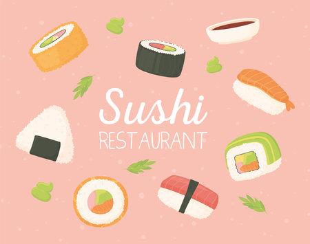 sushi restaurant japanese food seafood rolls traditional vector illustration