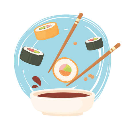 sushi chopstick with roll in soy sauce, sashimi food vector illustration