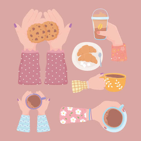 set various hands with coffee cup cookie frappe and croissant, fresh beverage vector illustration