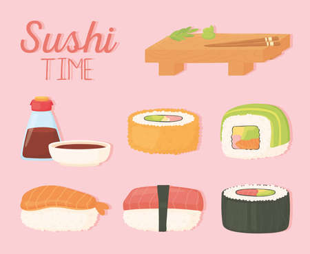 sushi time wood plate soy sauce in bottle and rolls design vector illustration