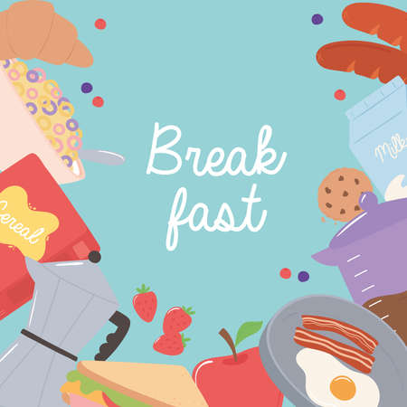 breakfast fried egg bacon croissant apple cookie cereal fresh food and drinks vector illustration
