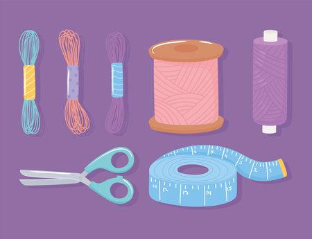 needlework scissors wool ball measuring tape and spools of thread icons set vector illustration Ilustrace
