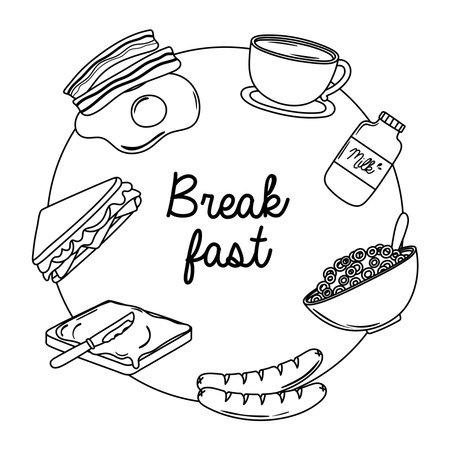 breakfast food fresh fried egg bacon milk coffee cup sausage sandwich vector illustration line style