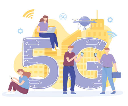 people with gadgets use high speed internet 5G network wireless technology vector illustration