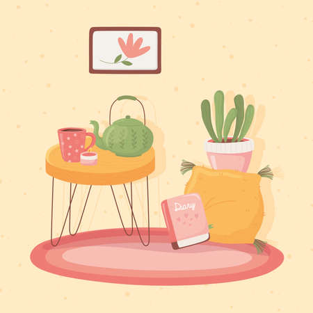 table with teapot cup and candle, cartoon hygge style vector illustration Ilustrace