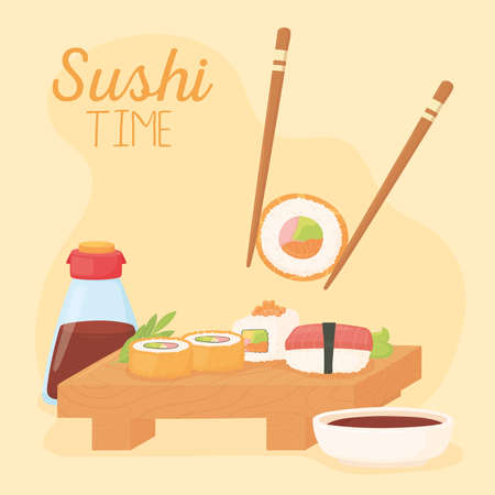 sushi time, chopstick with roll sauce soy and various rolls vector illustration