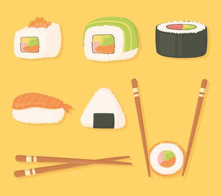sushi time icons set chopsticks and different sushi food vector illustration Ilustrace