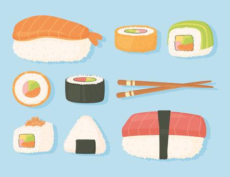 japanese food traditional fresh sushi and chopsticks design vector illustration