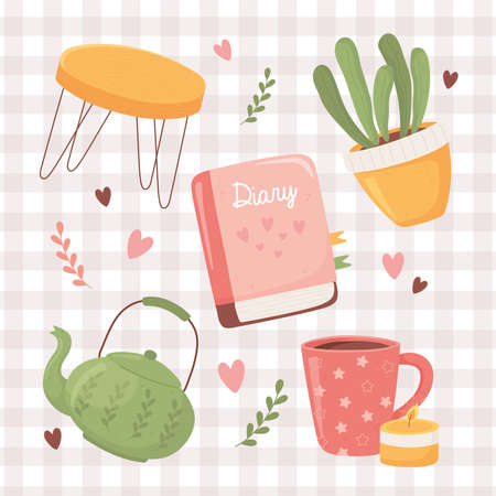 coffee cup teapot plant table and diary book, cartoon hygge style vector illustration Ilustrace