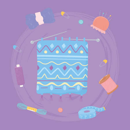 knitting with needles of yarn, measuring tape scissors and yarn skeins vector illustration